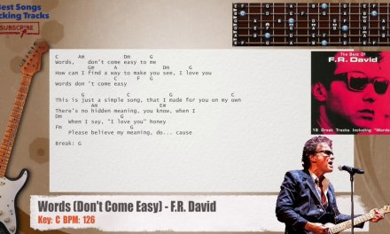 Words (Don't Come Easy) – F.R. David Guitar Backing Track with chords and lyrics