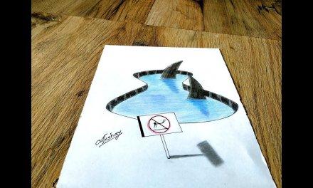 How to draw 3d Sharks – 3d trick art on paper – Art Maker Akshay