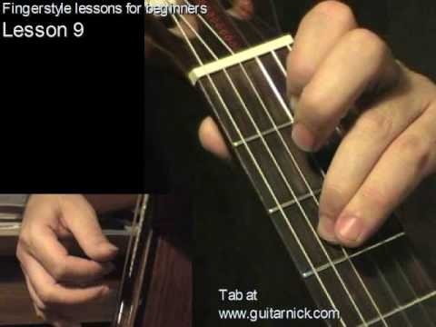 Fingerstyle guitar lesson 9 + TAB! learn to play acoustic guitar, easy for beginners