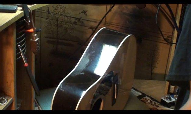 guitar finish scratch repair & side crack leveled martin hd28