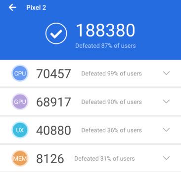 Zum Vergleich: Pixel 2 mit Snapdragon 835