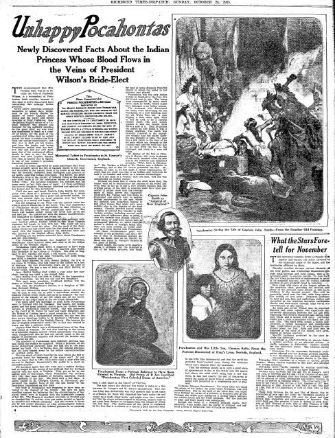 Unhappy Pocahontas, Richmond Times Dispatch newspaper article 24 October 1915