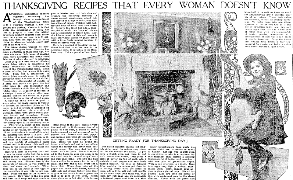 Old Fashioned Thanksgiving Recipes In The Newspaper