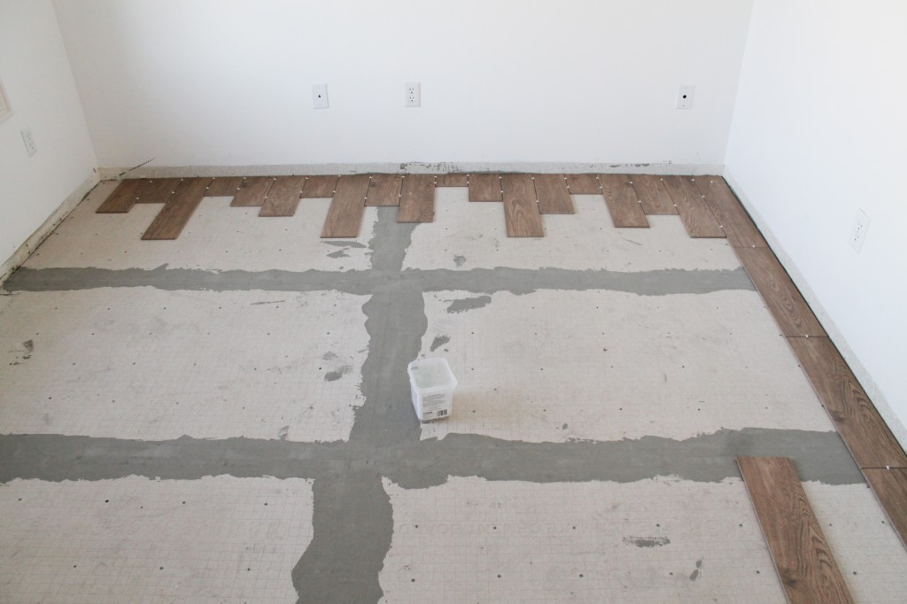 how to lay wood look tile and make it