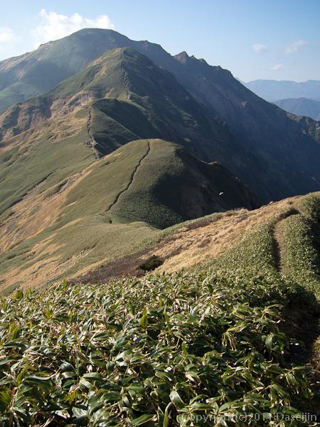 111104谷川岳・国境稜線、万太郎山を臨む