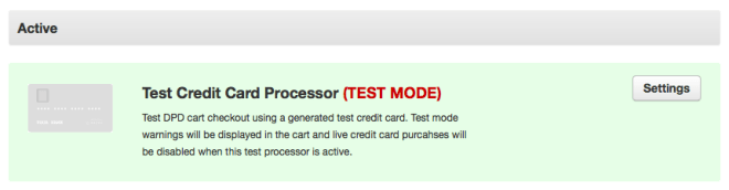 Test Card Processor in Payment Methods