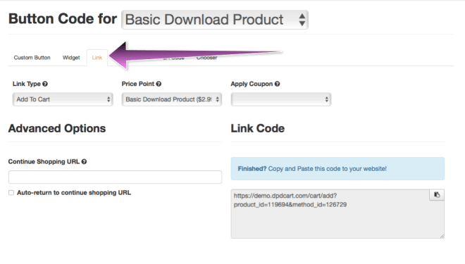Copy Link code for the product you'd like to sell on the WIX page.