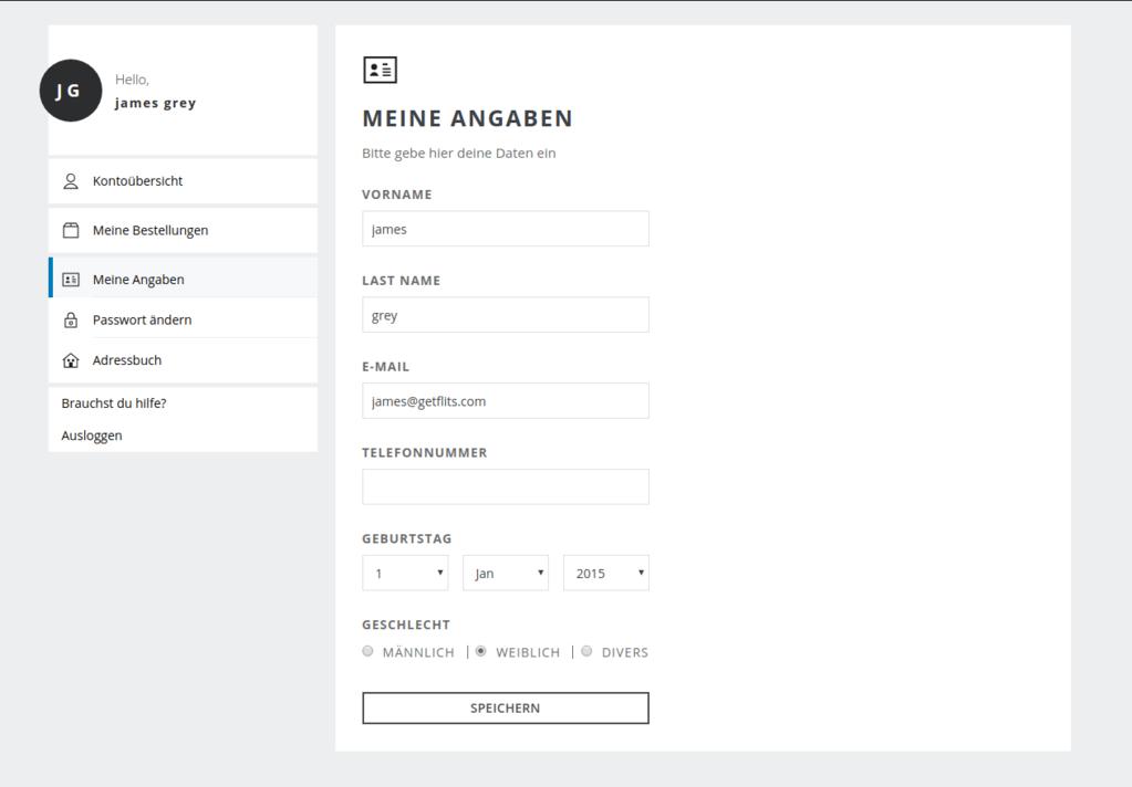 account page customization
