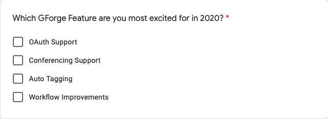 Survey of 2020 Features