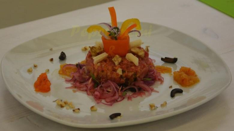 Tartare di Chianina, filetto dell'ebreo e Cipolle Di Cannara