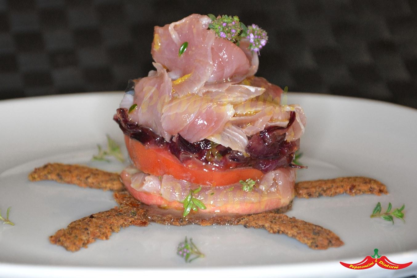 Torre di Palamita marinata, pane, Mela e cipolla Caramellata
