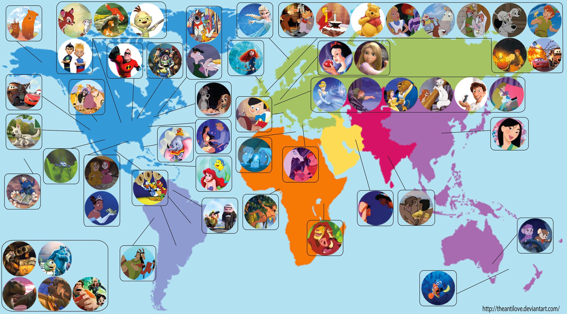Dove sono ambientati i cartoni animati della disney