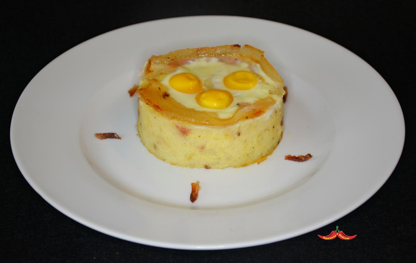 Gattò di Patate alla Carbonara con uova di quaglia