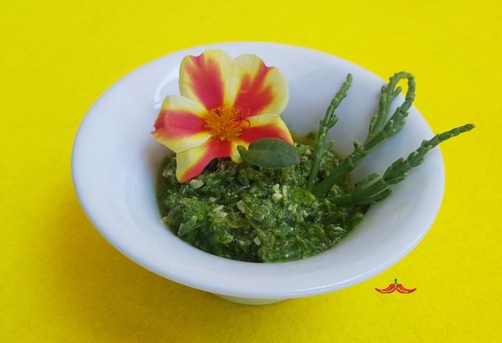 Pesto di Salicornia, Portulaca, basilico e noce