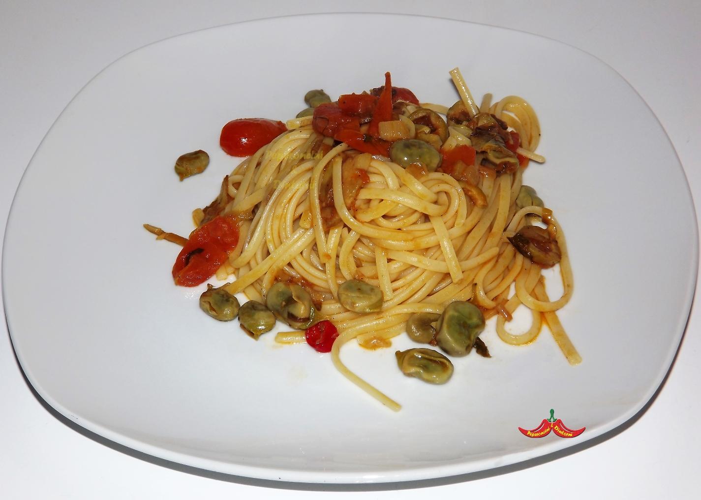 Linguine Fave, Carciofi e Pomodorini