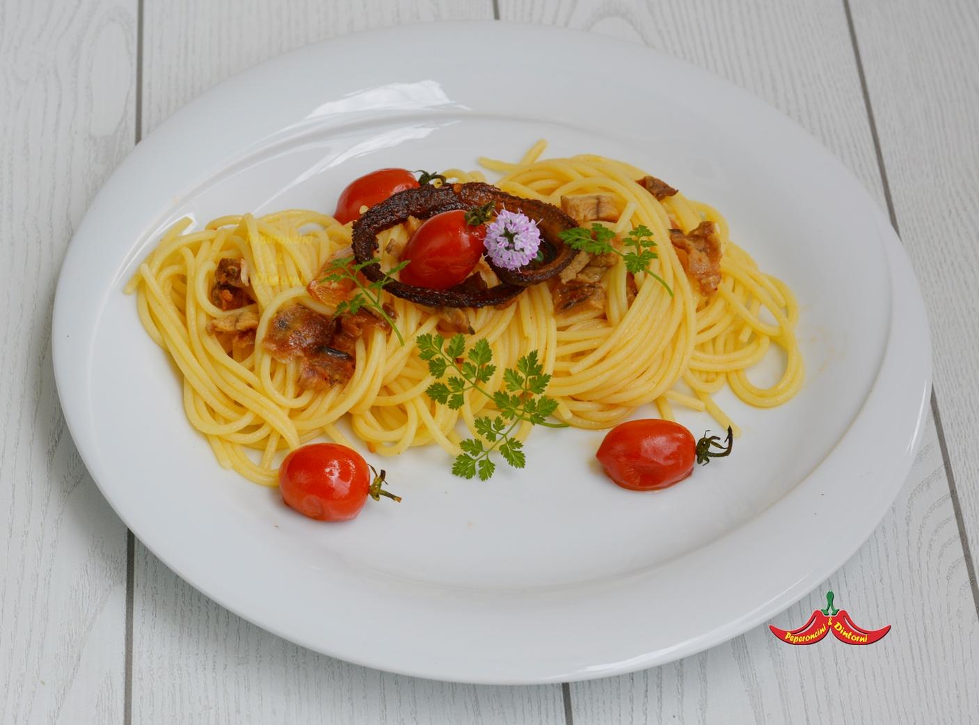 Spaghetti all'Anguilla Sfumata e la sua lisca aromatizzata al cerfoglio
