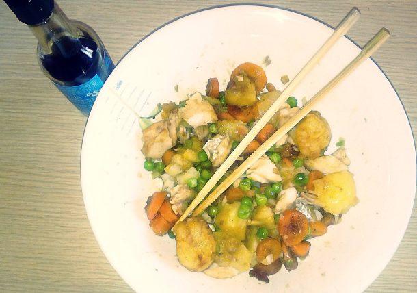 Insalata di merluzzo e patate in salsa di soia (al microonde)