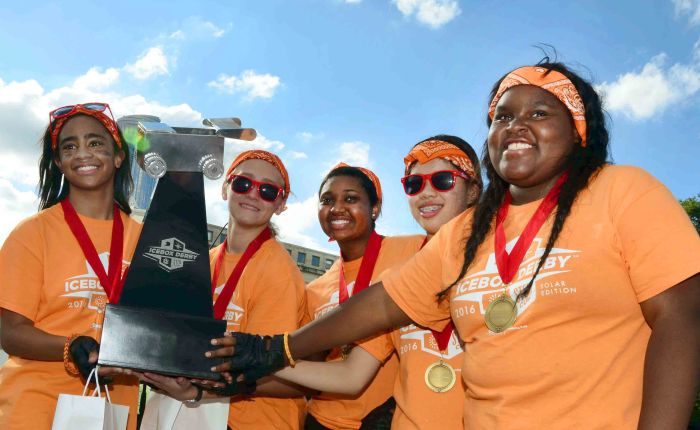 Girl Scouts Help Team Win ComEd Icebox Derby