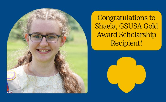 Girl Scout Shaela recognized with the National Gold Award Scholarship
