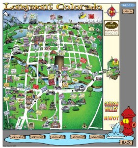 Longmont CO Cartoon Map