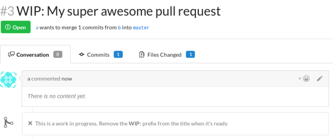 Demonstração do pedido pull do WIP