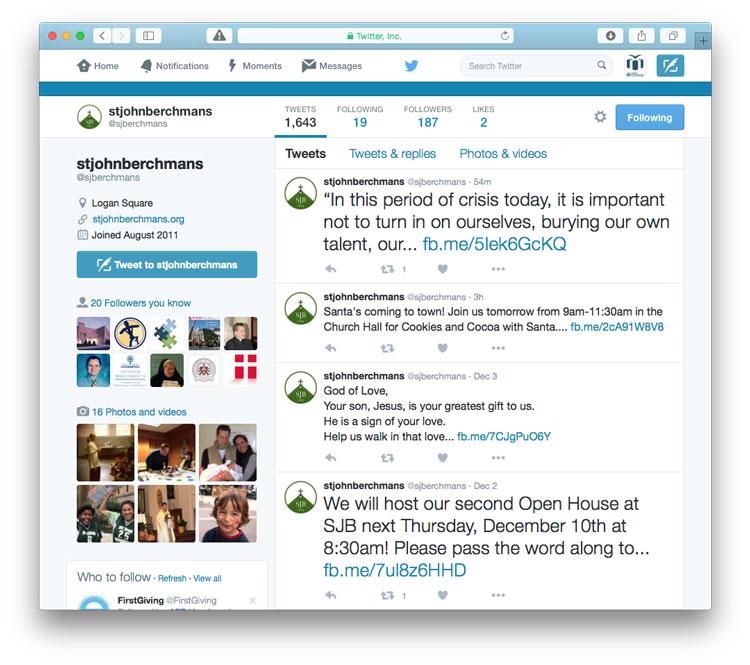 a screen shot of St. John Berchmans Twitter account