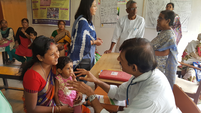 Doctors treating patients with NGO support