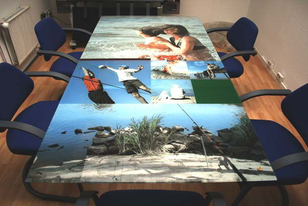 Glass printing is available for all kinds of applications, including office furniture.