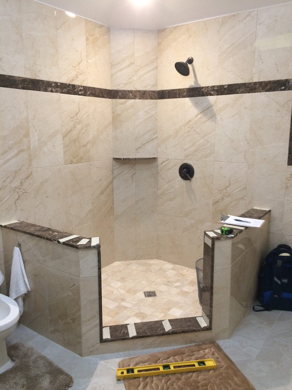 Frameless Neo Angle Shower Enclosure On Buttress Walls