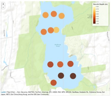 Image: Map of Secchi observations on Shelburne Pond, VT. Credit: Jason Stockwell, UVM.
