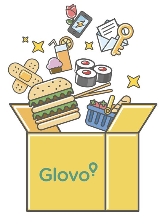 Una caja de Glovo llena de comida para llevar