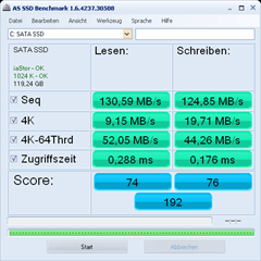 AS SSD Benchmark mit der Firmware 17 für de Phison 5