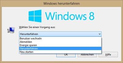 klassischer Herunterfahren-Dialog unter Windows 8
