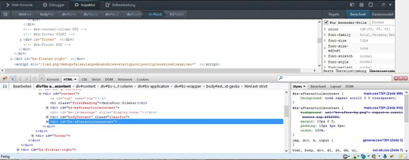 Firebug und die Web-Entwickler Tools von Firefox