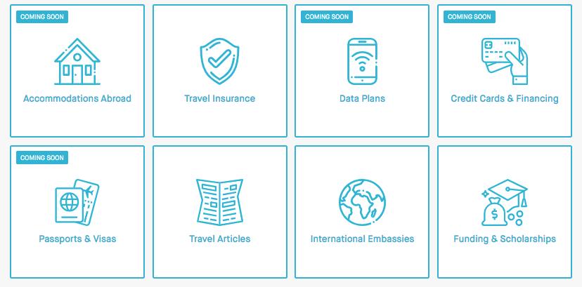Screenshot of GoAbroad's Travel Resource Hub options