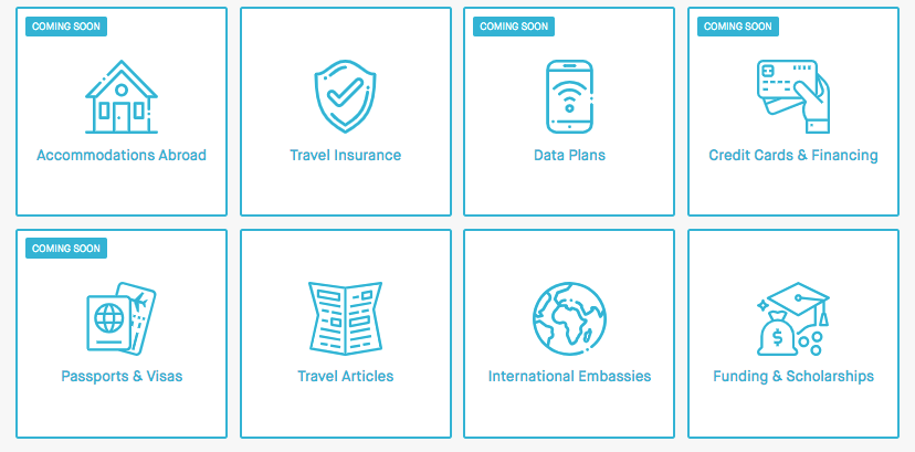 Screenshot of GoAbroad's Travel Resource Hub options