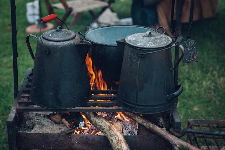 Kettles over a fire