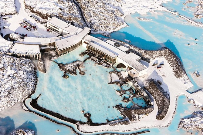 Aerial image of a snow covered Blue Lagoon in Iceland
