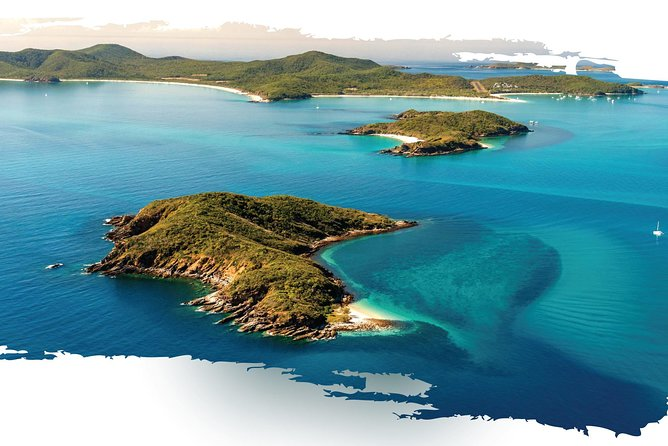 Aerial shot of Great Keppel Island in the Great Barrier Reef