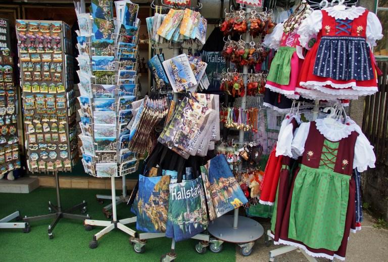 Rows of souvenirs in an Austrian shop.
