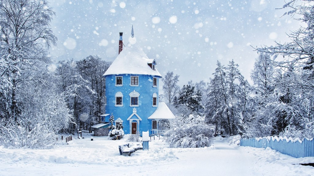 Snow-covered Moomin world in Finland.