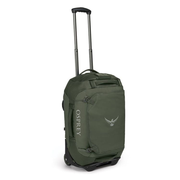 Osprey 40L rolling transporter bag in green.