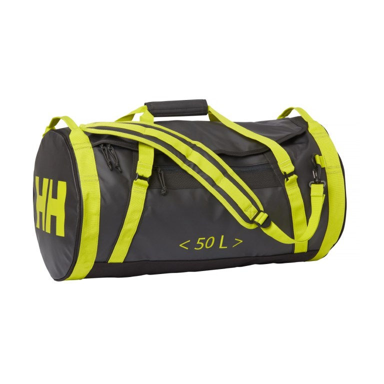 Helly Hansen 50L waterproof bag in green and grey.