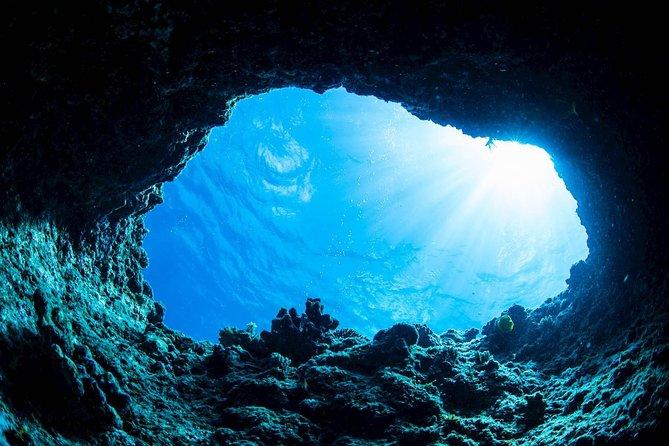 Underwater image of the blue cave near Dubrovnik, Croatia.