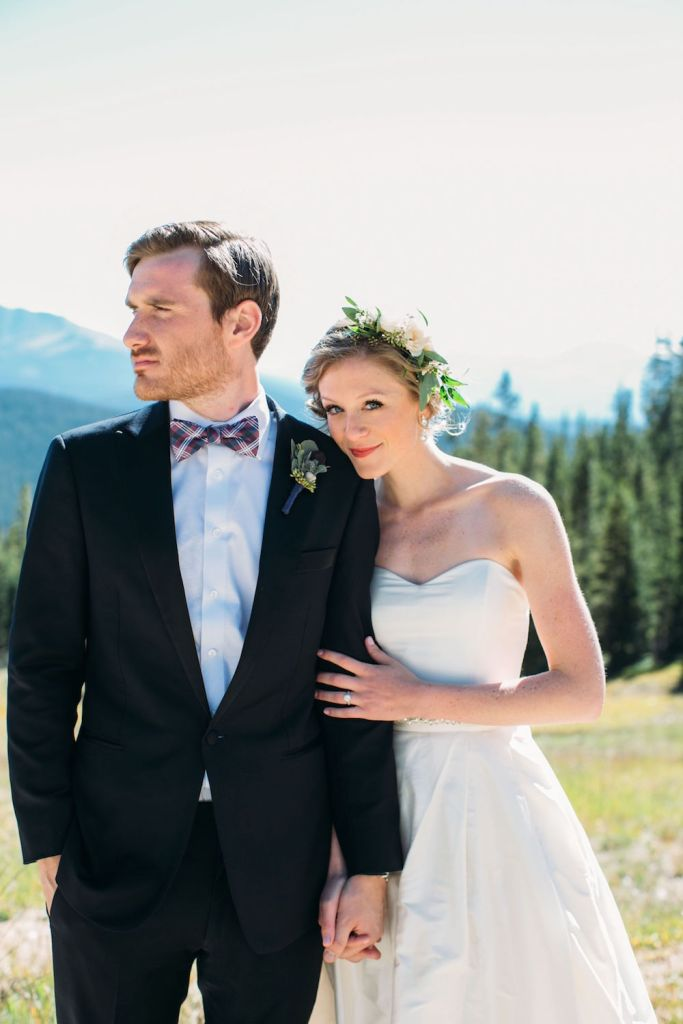 groom in plaid bowtie
