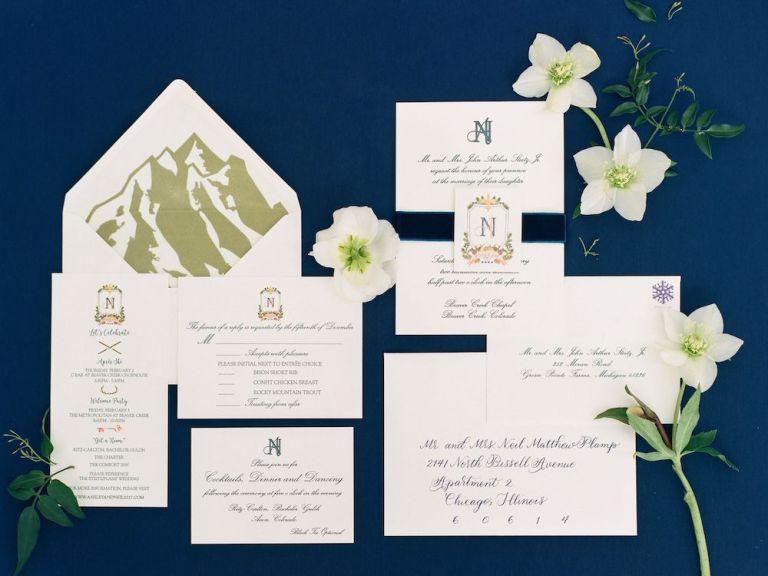 mountain wedding invitation with monogram