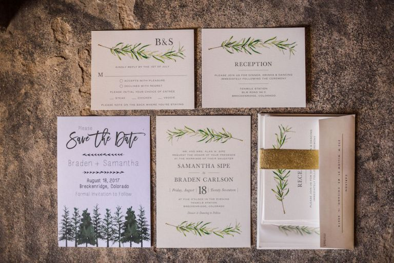 botanical mountain wedding invitations