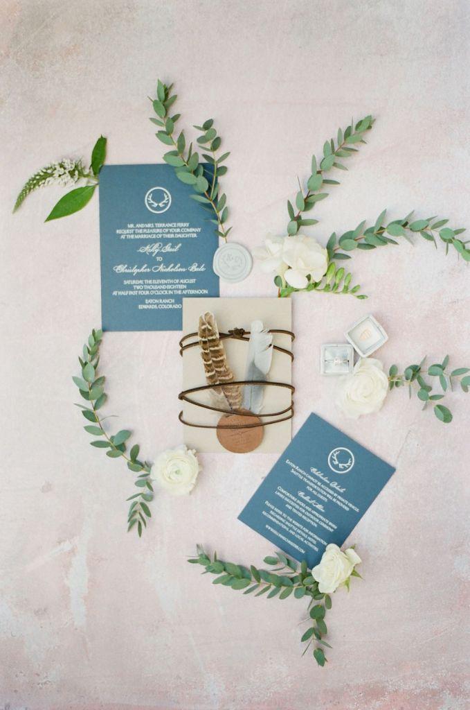 antler wedding stationery motif