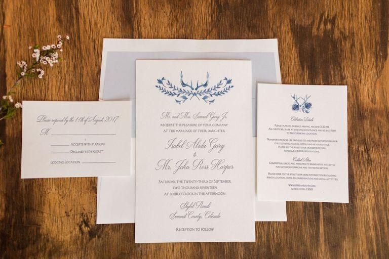 watercolor antler wedding invitation