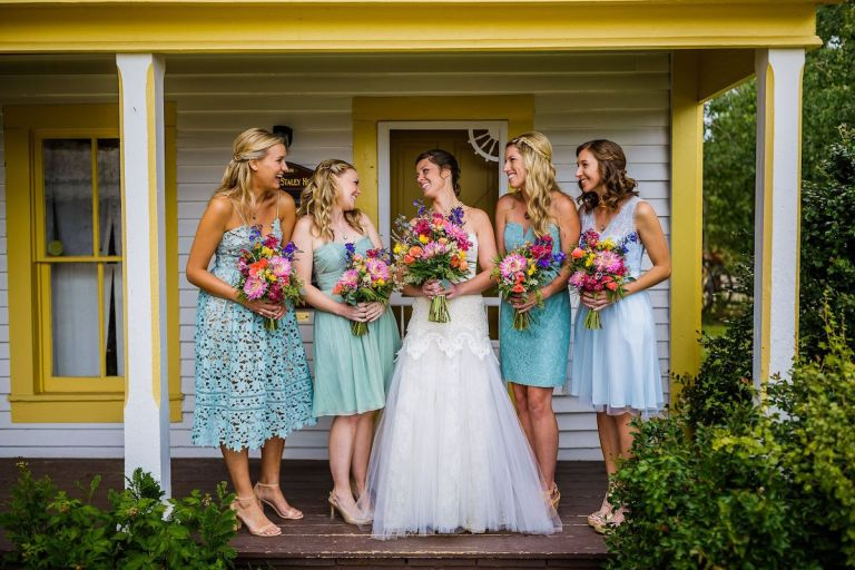 summer-wedding-ideas-colorado-mismatched-bridesmaid-dresses